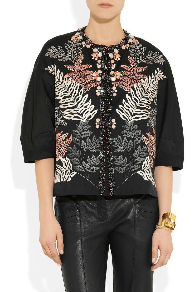 Biyan | Katrina embellished embroidered taffeta jacket | NET-A-PORTER.COM