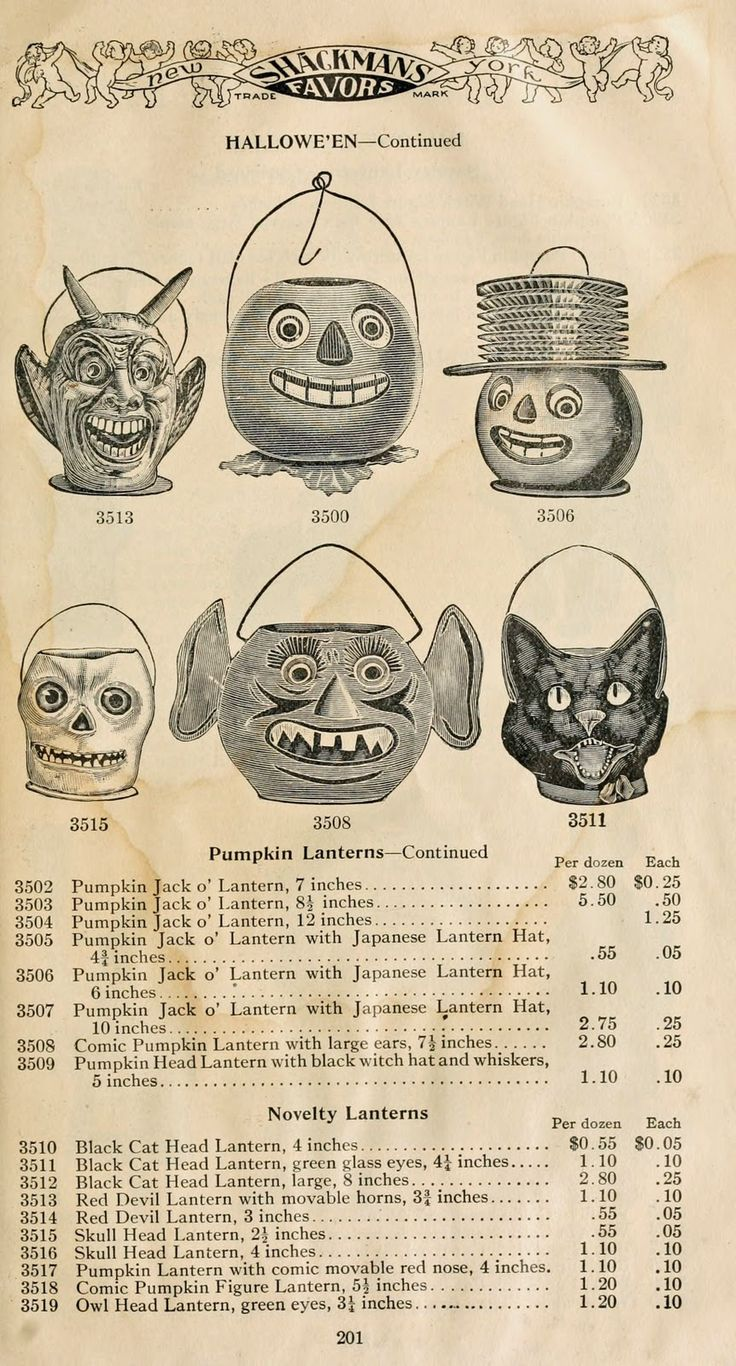 Vintage Halloween Ephemera ~ Shackman's Favors * Catalog Page for Paper Mache Lanterns ©1911 (The B. Shackman Company has been in business since 1898 and is still thriving.)