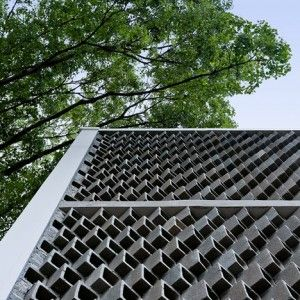 Hollow concrete blocks form a textured frontage  for Wuyang Architecture's student shower block