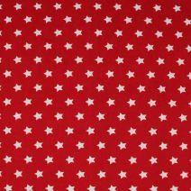 Červená bavlněná látka s motivem bílých hvězdiček. Látka je vhodná na patchwork, quilting, ložní prádlo, ale i na šaty, kalhoty.