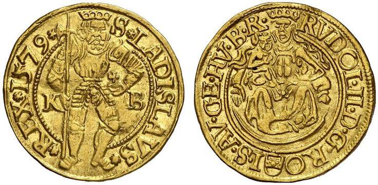 AV Goldgulden. Hungary Coins, Habsburg Rulers, Rudolf 1576-1608. Kremnitz mint, 1579 KB. 3,47g. F 63. Hearly EF. Price realized 2011: 900 USD.