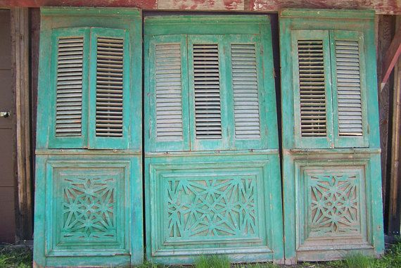 vintage shuttersthree piece set of old mediterranean Shutter