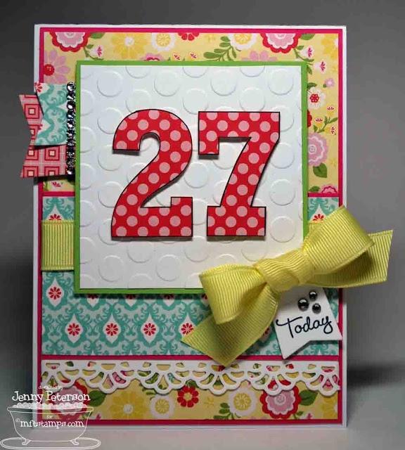 Carte colorée pour un 27e anniversaire.