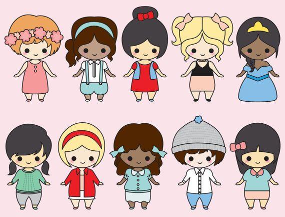 Premium Vector Clipart Kawaii Girls por LookLookPrettyPaper