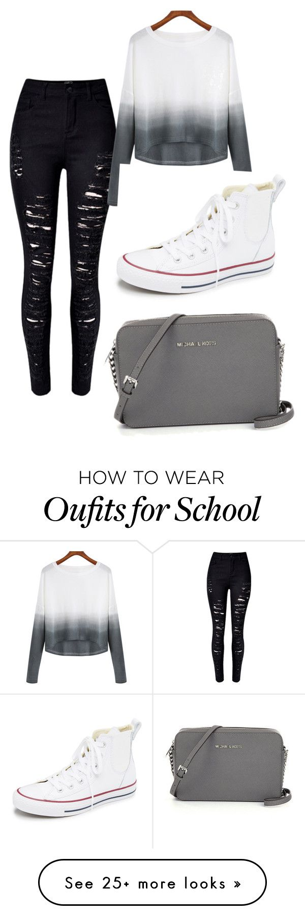 """classic school outfit"" by ablanco2556 on Polyvore featuring Converse, women's clothing, women's fashion, women, female, woman, misses and juniors"