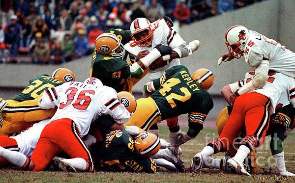 Photograph taken of Edmonton Eskimos defensive end David Boone #64 puts the stop on B.C. Lions running back Larry Key #20 on this play. Edmonton Eskimos middle linebacker #42 Dan Kepley is also in on this play. Taken during the 1981 Western Final game versus the B.C. Lions.