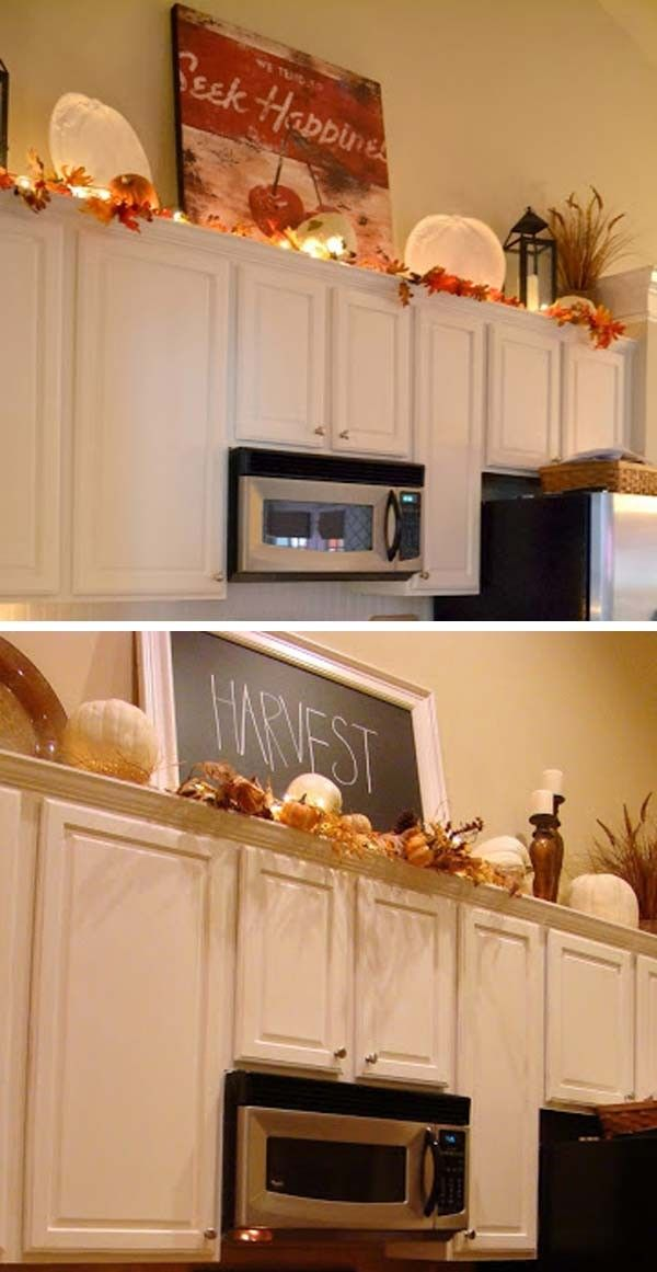 35 Luxury Decorating Above Kitchen Cabinets Ideas 2020 Decorequired Fall Decor