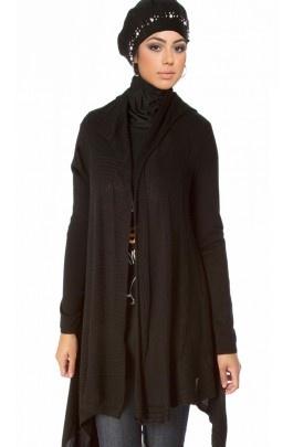 Asymmetrical Hem Long Cotton Blend Sweater Cardigan - Islamic Clothing - Modest Clothing at Artizara.com
