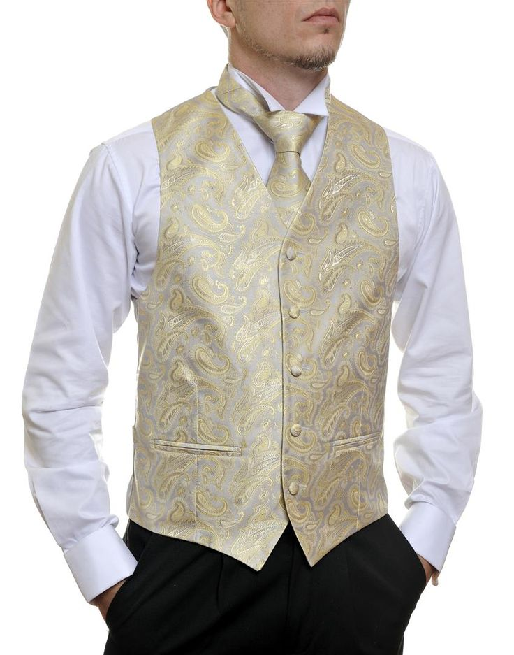 Silver Gold Paisley #Australia made #AU #Groom #Dinner #Vest #Fashion #Clothing #Beautiful #Wedding