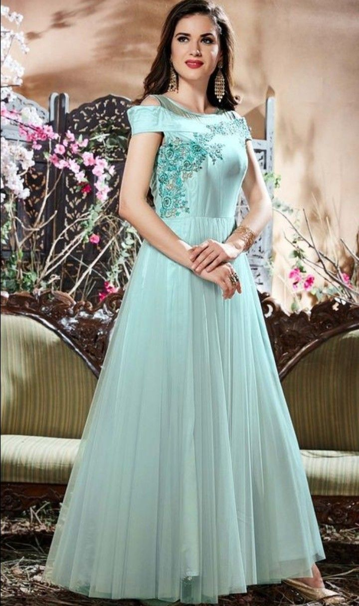 Beautiful net indo western gown with embroidery gown pinterest