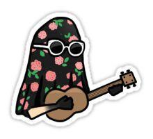 Twenty One Pilots- Tyler Joseph Ukulele Floral (Ghost) Sticker