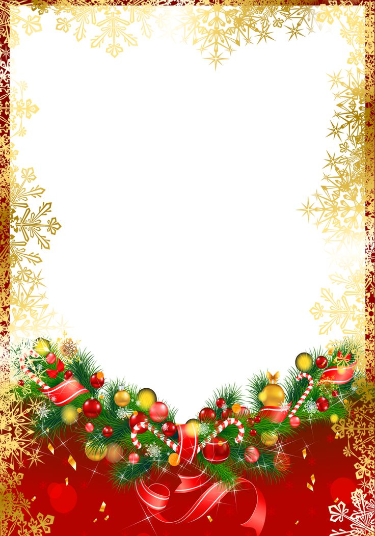 Red Christmas PNG Frame with Gold Snowflakes