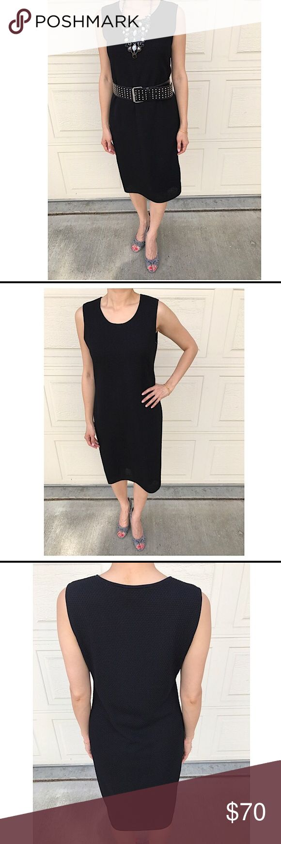 NIEMEN MARCUS MISOOK black sleeveless dress NIEMEN MARCUS MISOOK black sleeveless dress. Pull on style, no zipper. Fully lined, acrylic material, semi loosely fitted and stretchy. Made in Korea. Knee length. IMPECCABLE, LIKE NEW condition, no tears/holes.   NOTE: The COLE HAAN snakeskin heels are also for sale separately in my closet. Necklace and belt are got styling suggestions only and do not come with the dress. Misook Dresses