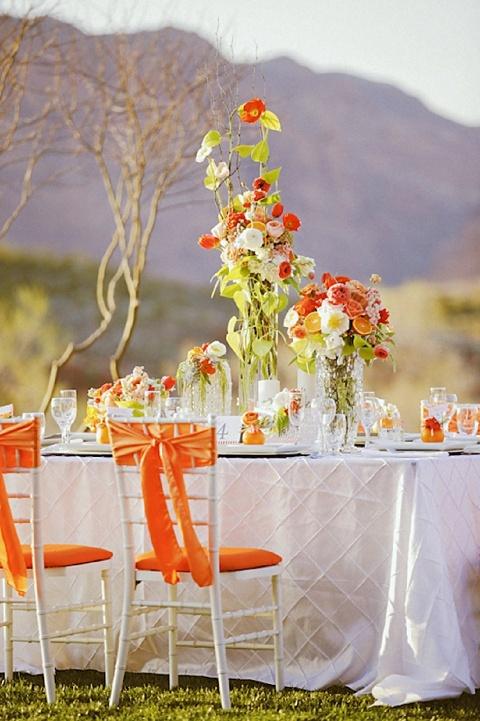 styled shoot: modern rustic tangerine tango | Blossoms ... Tangerine Tango Wedding