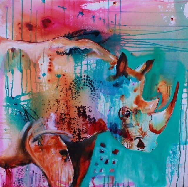 """Rhino"", abstract, acrylic."