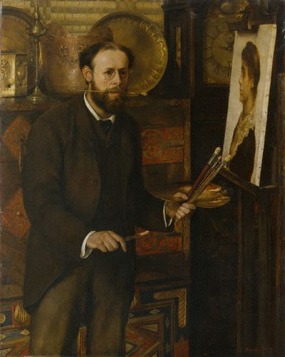 John Collier (English: 1850–1934) - Portrait of John Collier - circa 1882 by his first wife Marion Collier(née Huxley) (1859-1887)