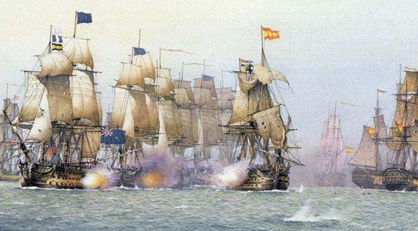 Navío Príncipe de Asturias atacando a la Escuadra Británica en San Vicente