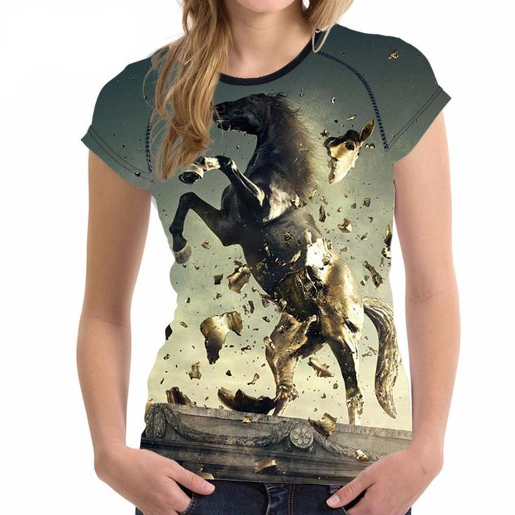New FORUDESIGNS Cool Horse Women T Shirt Summer |