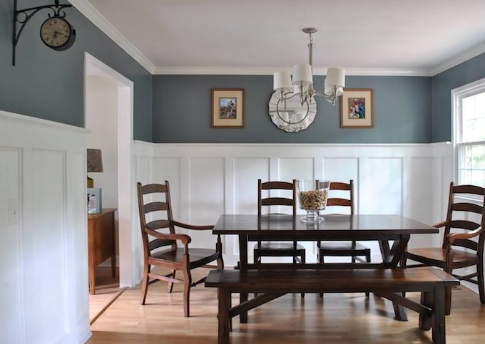 "Learn how to add elegance and character to your dining room with a DIY board and batten project with an upscale twist. See how cove moldings can take your board and batten from ""that's nice,"" to ""OOO-LA-LA."" 