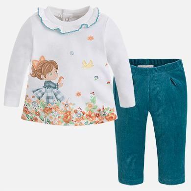 Mayoral Teal Little Girl in the Flowers Corduroy Leggings