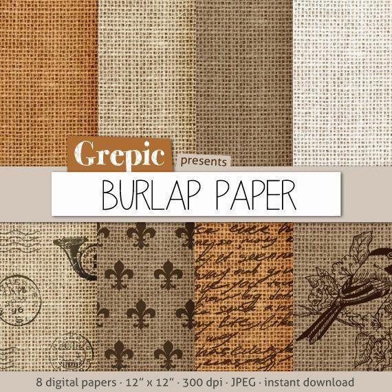 Burlap digital paper BURLAP PAPER with burlap / linen / by Grepic, $4.80