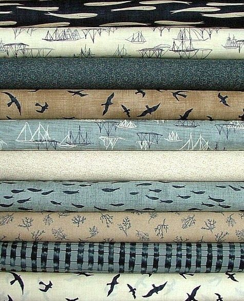 Beach Bum Fabrics -Designer Collections and Quilt Kits - A line of beautiful overcast tones by Janet Clare. [my favorite?  the tan in the lower third with seaweed]