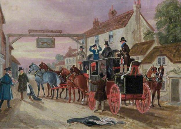 The Halfway House: A Mail Coach outside the 'Greyhounds Inn' by James Pollard 1846 at The British Postal Museum & Archive
