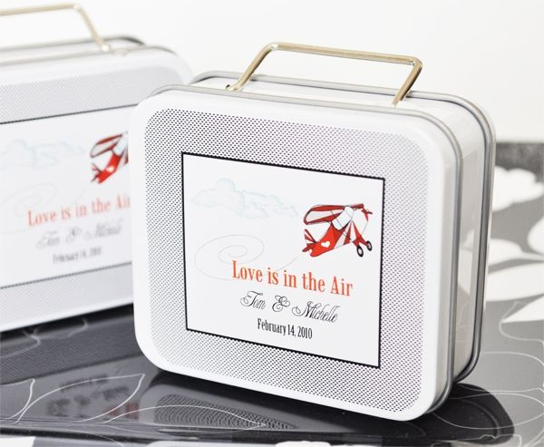 """Love is in the Air"" Personalized Suitcase Tins wedding favors"
