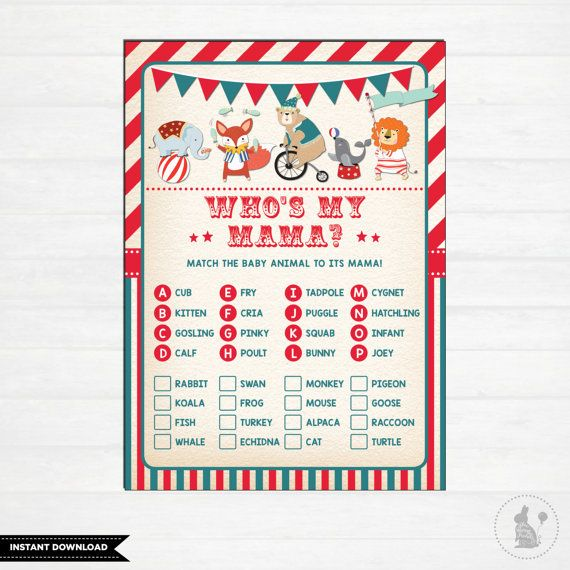 Circus BABY SHOWER GAME. Carnival Themed Match Baby Animals Game. Retro  Circus Baby Shower. Vintage. Whou0027s My Mama. Baby Boy. Big Top. CAR1