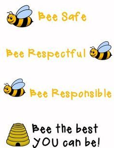 Print this 8 1/2 X 11 poster to hang in your classroom.  The three main rules coordinate well with many school-wide behavior plans.  This also goes well with a bug or bee themed room, but cute for any room!