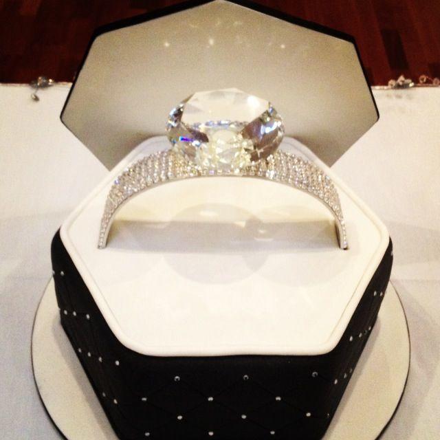 Bling engagement ring cake #sweetlysliced
