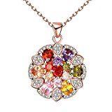 #9: Bestjpshop ネックレス ピンクゴールド 花モチーフ ダイヤモンド ゴールド キラキラ豪華 おしゃれ 人気プレゼント チェン付き