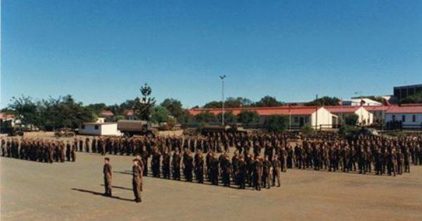 SADF Ist Parabat Battalion on parade at Tempe, Bloemfontein.