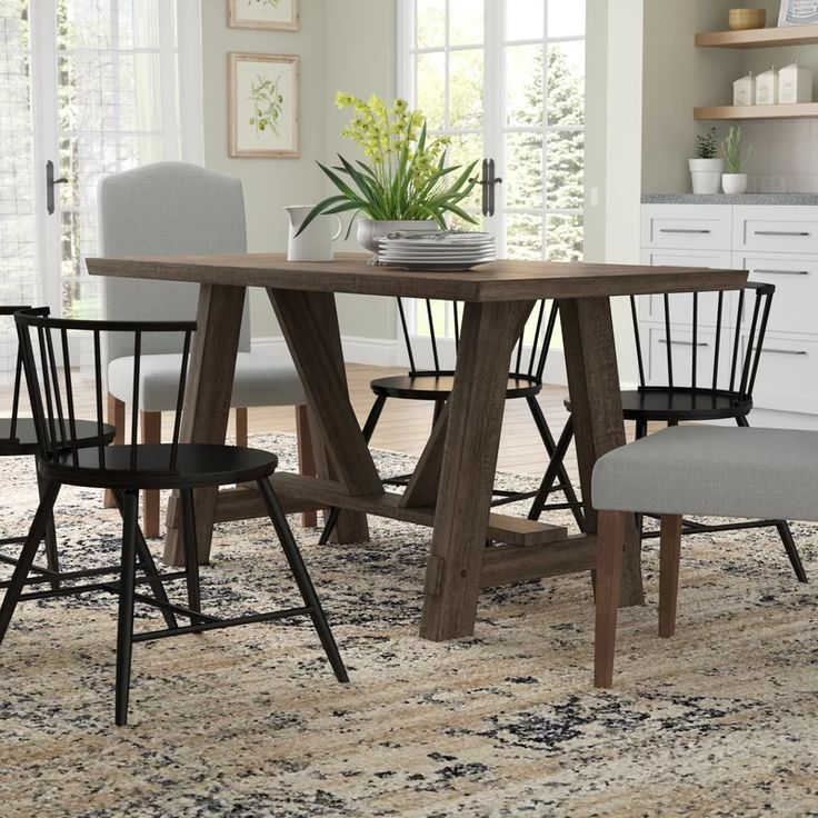 Gracie Oaks Leming Trestle Dining Table & Reviews