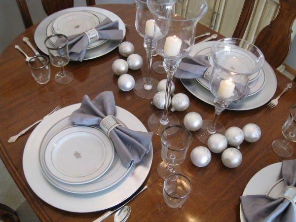 silber Kugel Tischdeko-weiß-blau