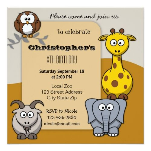 120 best zoo birthday party invitations images on pinterest cute animals zoo kids birthday party invitation stopboris Choice Image