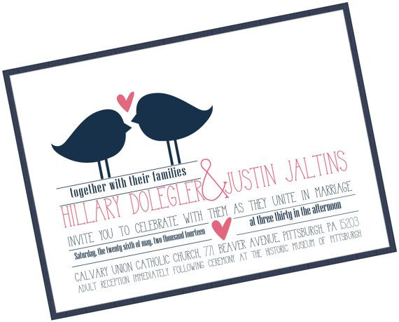 Love Birds Wedding Invitation: Deep Metallic Navy and Pink on Etsy, $3.99 AUD
