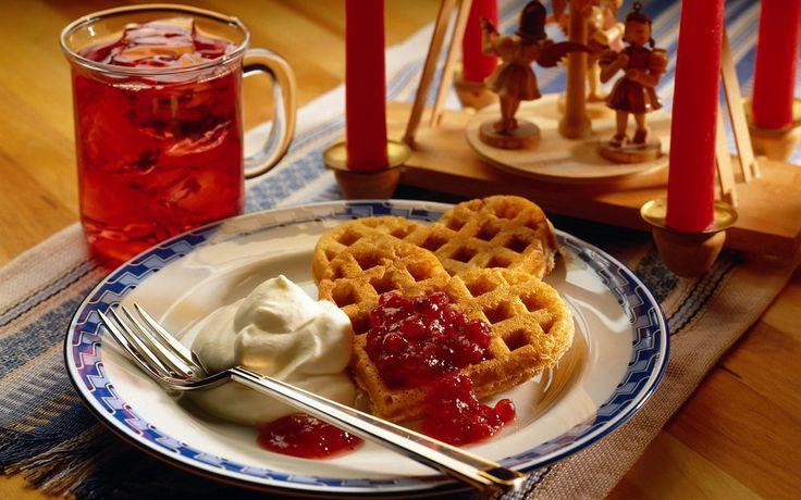 Il cibo, caramelle, biscotti, cialde, cuore, cuore, crema, marmellata, tè, bevanda, forchetta, piatto, carta da parati tavolo
