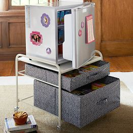 Mini fridge & storage http://www.pbteen.com/shop/pbdorm/decorate/room-decor-dorm/?