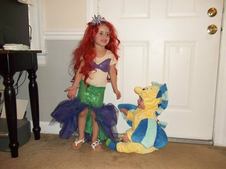 Ariel and Flounder brother and sister Halloween costumes! I can't believe they were ever this little!