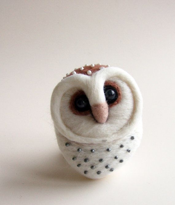 Felted Barn Owl Hand Felted Brooch Wool by ShishLOOKdesign on Etsy