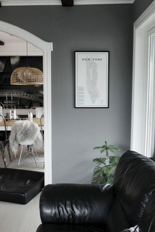 vardagsrum, gråa väggar, poster, david ehrenstråhle, minigran, inomhusgran, a guide to new york