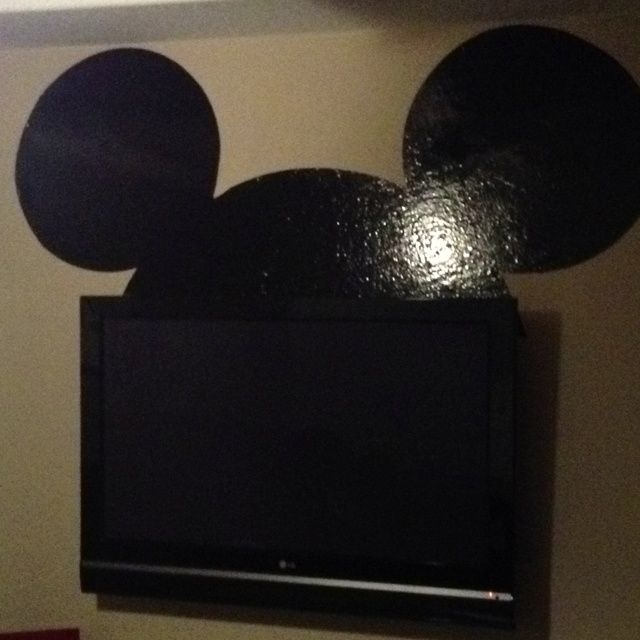 mickey mouse playroom  Mickey ears for the tv in Eli's playroom