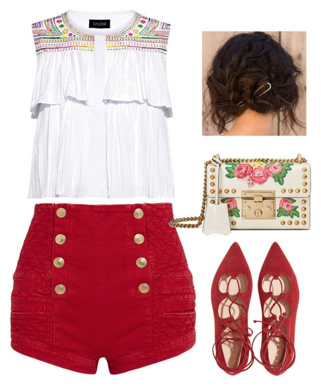 """""""Red & White"""" by tripti917 on Polyvore featuring Pierre Balmain, Saloni, Gucci, 60secondstyle and outdoorconcerts"""