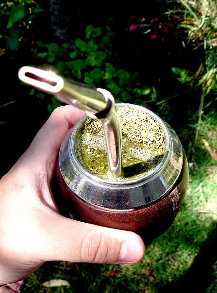 Yerba Mate tea, may try this. The pic looks like some kind of bong though I must say! What is that thing?