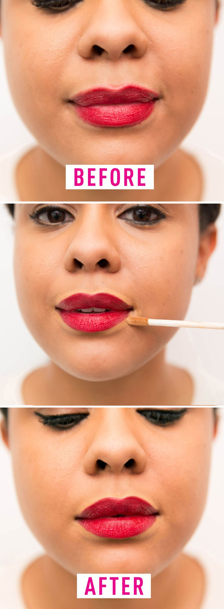Don't apply lipstick without sharpening the edges. This will make the lipstick bleed into the natural creases of the skin around your mouth.