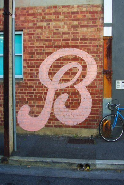'B for bicycle' street art by Peter Drew