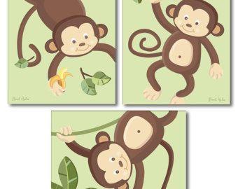Monkeys Wall Art Monkeys Print Set of 3 Blue Jungle by smileywalls