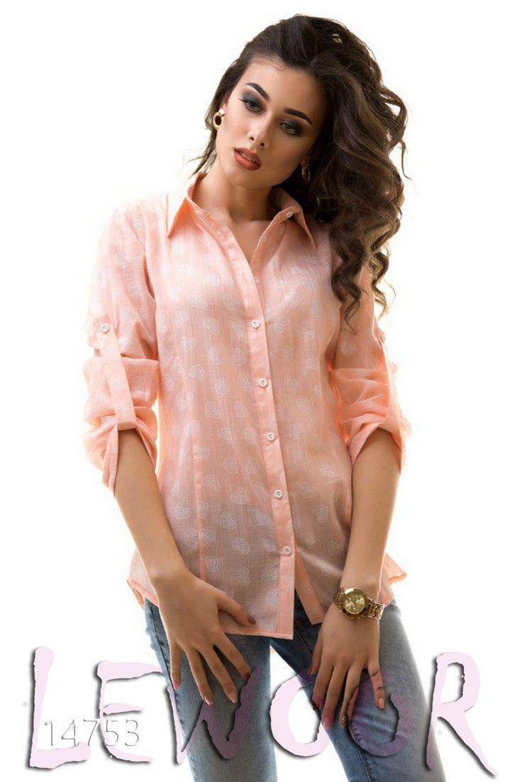 Милая батистовая рубашка - туника с сердечным принтом - купить оптом и в розницу, интернет-магазин женской одежды lewoor.com