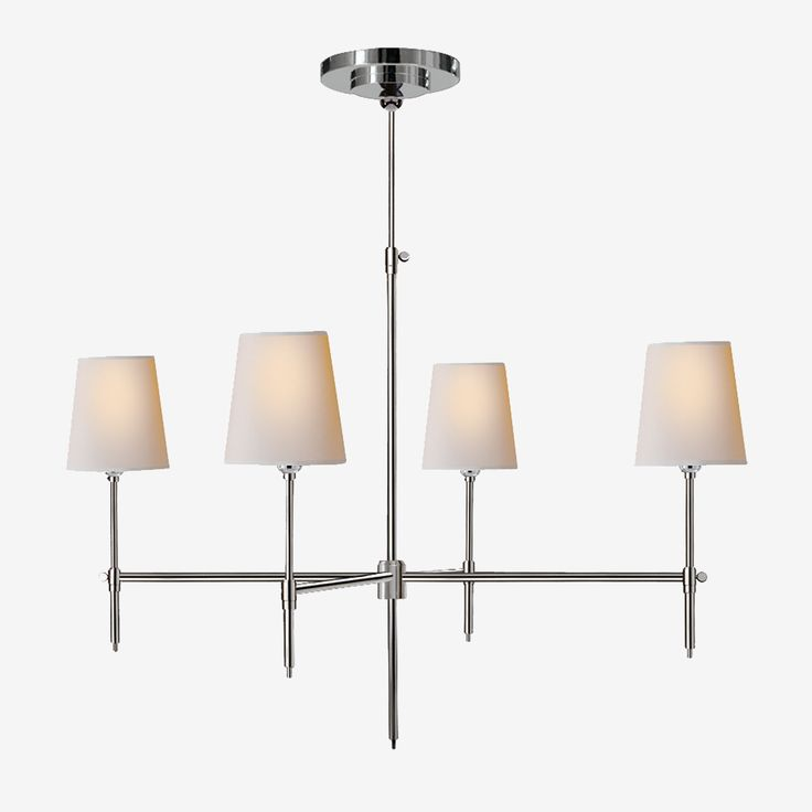 The Bryant Chandelier in Polished Nickel with Natural Paper Shades by Thomas O'Brien • Elegant and simple in design, the four light Bryant Chandelier by Thomas O'Brien will enhance your home with a perfect mix of form and function. Available in two sizes and three finishes, it also has a number of matching options in wall sconces and table and floor lamps.